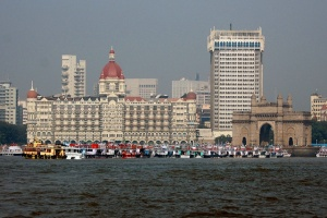 Taj Mahal Palace hotel and Gateway to India monument, one year before terrorist bombings