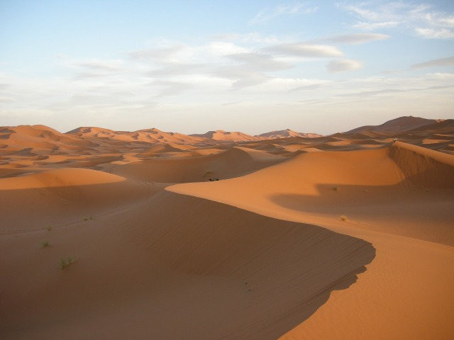 The high Erg Chebbi dunes southeast of Erfoud