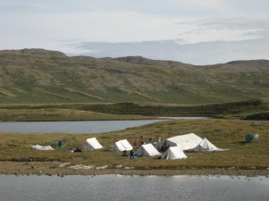 A camp of reindeer hunters near the ice sheet