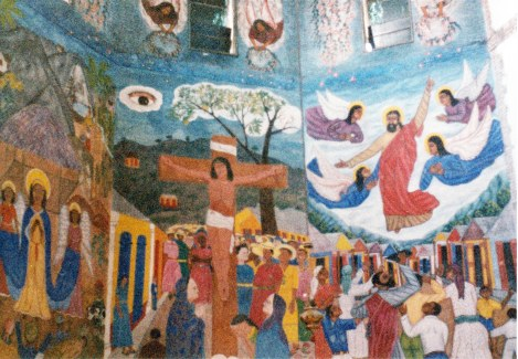 Holy Trinity Cathedral murals, 1986. Church and murals being restored after the earthquake